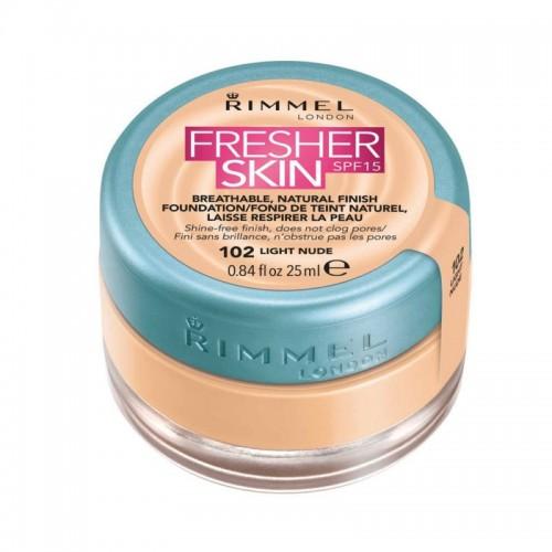 Fond de ten Rimmel Fresher Skin, 102 - Light Nude, 25 ml
