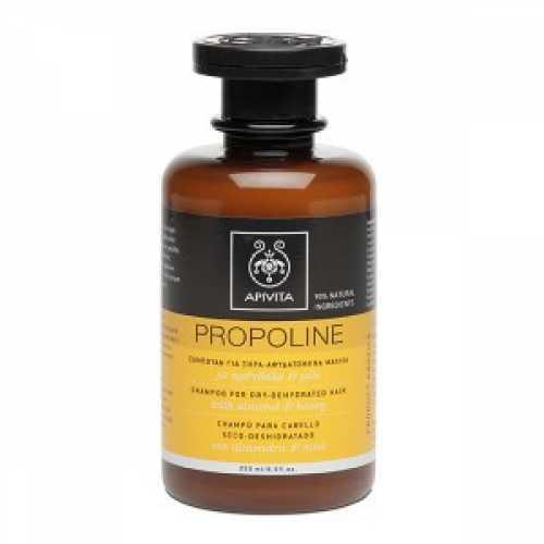 Sampon PROPOLINE pentru par uscat si deshidratat cu Migdale si Miere, Apivita, 250 ml