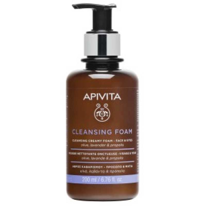 Cleansing Olive & Lavender spuma de curatat pe fata si ochi, Apivita, 300 ml