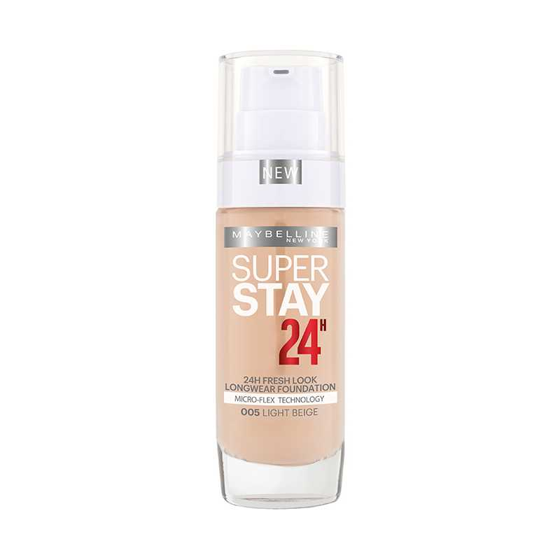 Fond de ten Maybelline NY SUPERSTAY 24H, rezistent la transfer, 005 Light Beige, 30 ml