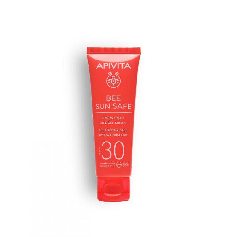 Lotiune de plaja, Hydra Fresh Face Gel Cream SPF30, Apivita, 50 ml