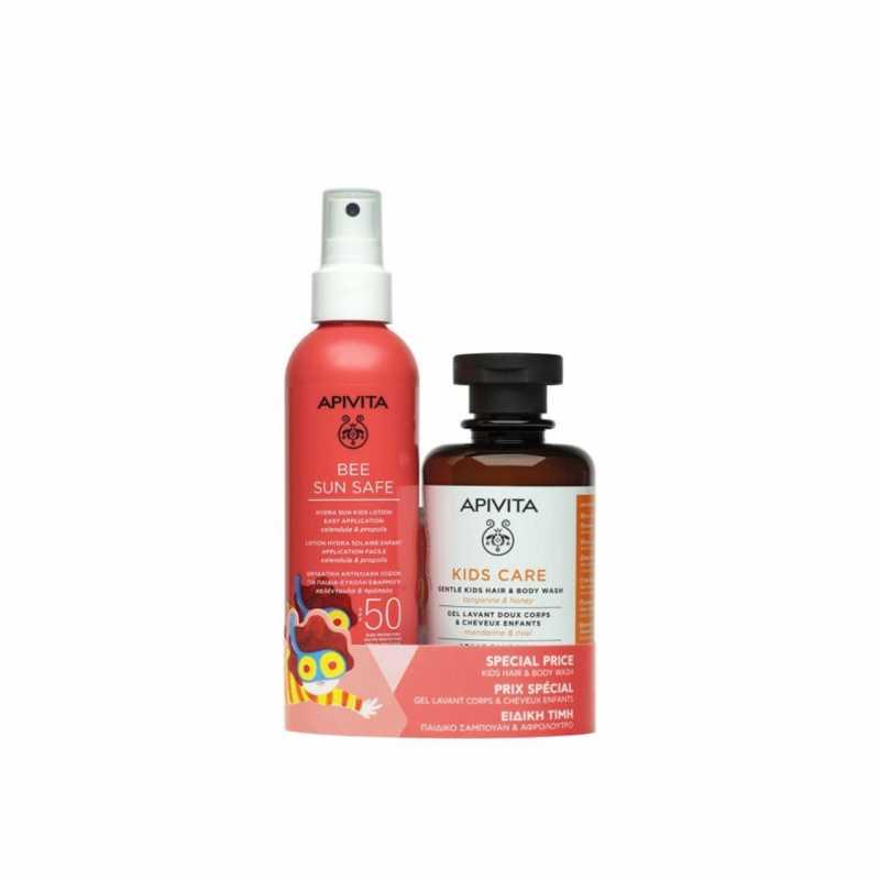 Set Bee Sun Safe pentru copii, Apivita, Lotiune Hydra Sun SPF50 200ml, Sampon Gel de dus 250 ml