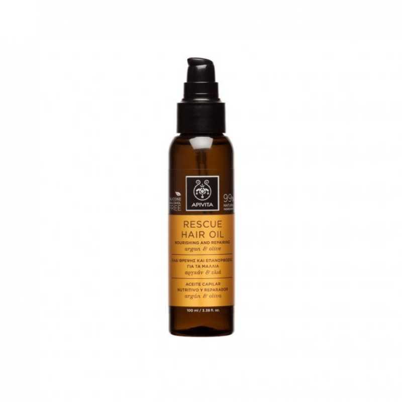 Ulei de par Rescue Hair Oil cu ulei de argan si masline, Apivita, 100 ml