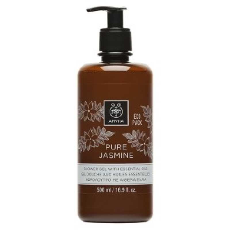 Gel de dus Pure Jasmine cu uleiuri esentiale Ecopack, Apivita, 500 ml